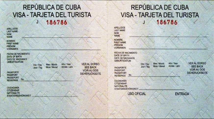 visto turistico. visa of tourism for cuba. visas turisticas